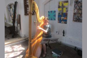 Harpiste Judith Baakman uit Terborg in het decor van de expositie. Zij speelde op 23 juli bij de gesprekken over voedselbos: de oplossing tegen klimaatverandering (fotograaf Lies Visscher)